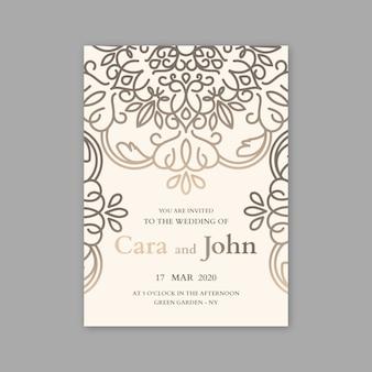 Conceito de luxo para o modelo de convite de casamento