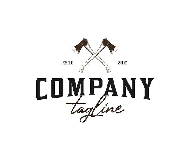 Conceito de machado vintage para modelo de logotipo de lenhador ao ar livre