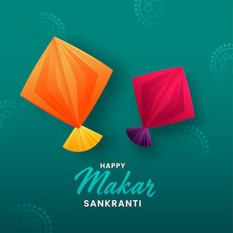 Conceito de makar sankranti feliz com ilustração de pipas de papel de origami em fundo verde