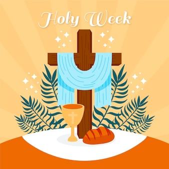 Conceito de mão desenhada semana santa