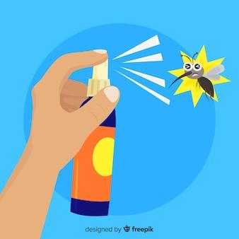 Conceito de mão segurando o spray de mosquito