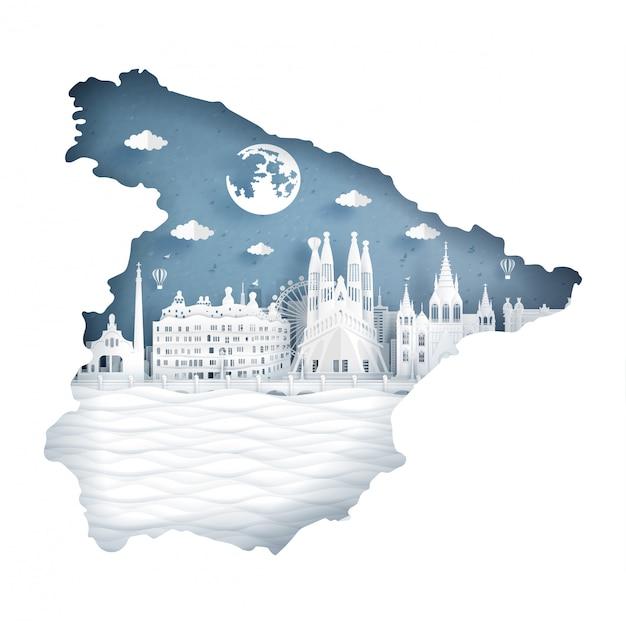 Conceito de mapa de espanha com bandeira e famoso marco