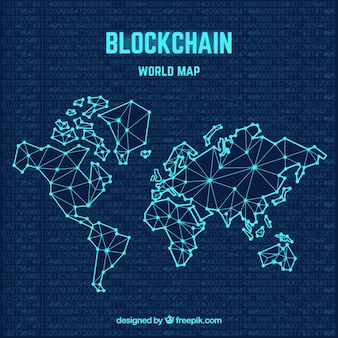 Conceito de mapa de mundo blockchain