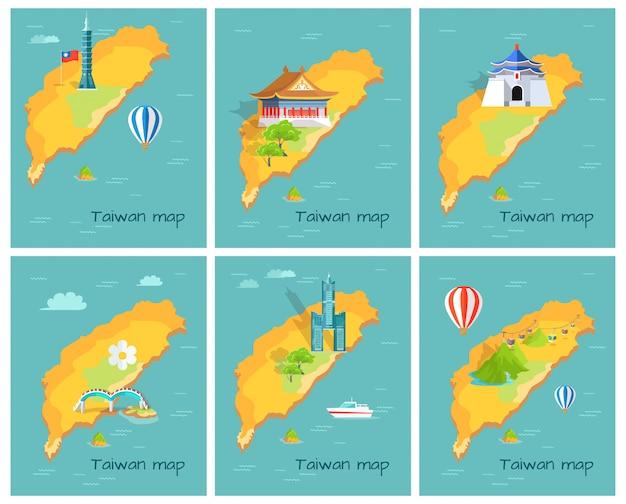 Conceito de mapa de taiwan no gráfico do oceano pacífico