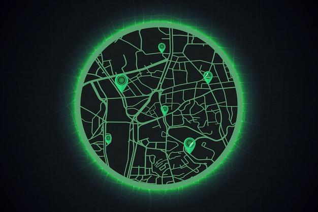 Conceito de mapa de tecnologia gps