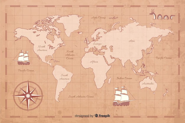 Conceito de mapa mundo vintage digital
