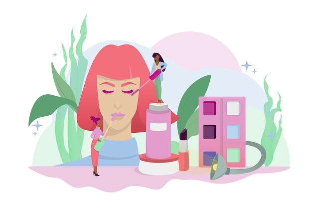 Conceito de maquiagem. mulher em procedimento de beleza, aplicação de cosméticos no rosto. ilustração em estilo cartoon