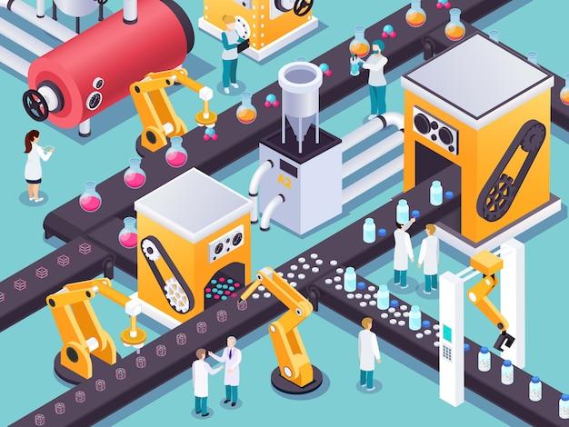 Conceito de máquina isométrica steampunk com linha de montagem em movimento operada por manipuladores robóticos com ilustração em vetor personagens humanos cientista