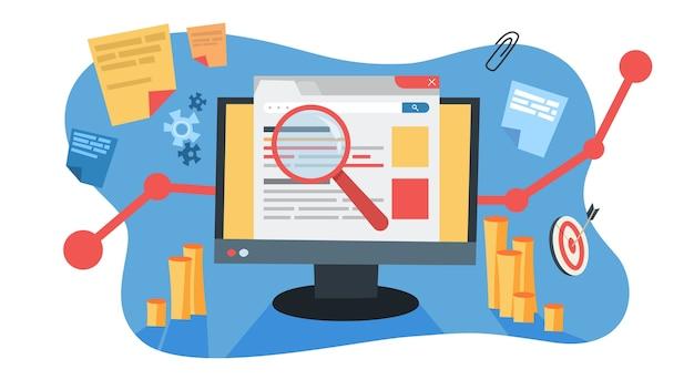 Conceito de mar. ideia de publicidade em motor de busca para site como estratégia de marketing. promoção de páginas web na internet e seo. ilustração