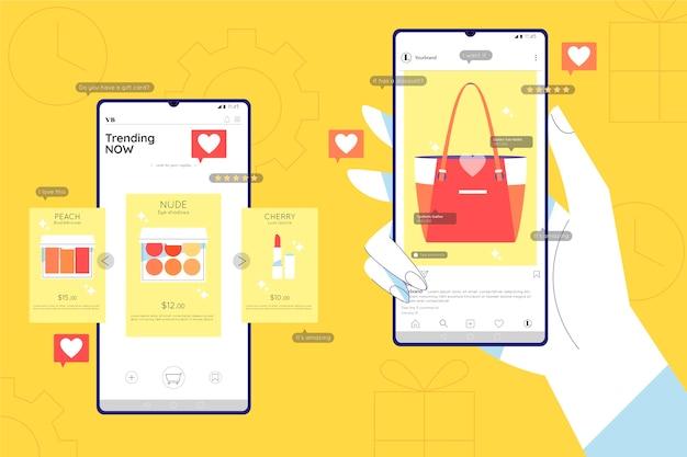 Conceito de marketing de compras online