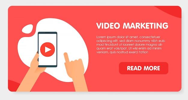 Conceito de marketing de conteúdo de vídeo.