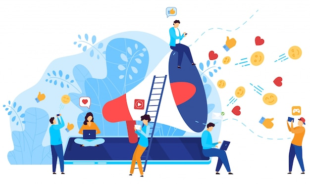Conceito de marketing de mídia social, as pessoas reagem ao conteúdo do influenciador on-line, ilustração