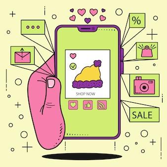 Conceito de marketing de mídia social com mobile