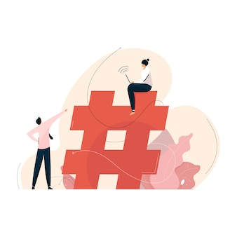 Conceito de marketing de mídia social com símbolo de hashtag