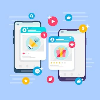Conceito de marketing de mídia social com telas de aplicativos
