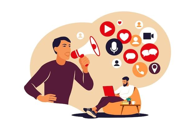 Conceito de marketing de mídia social. homem usando redes sociais. gerenciamento de smm. publicidade on-line. ilustração vetorial. apartamento