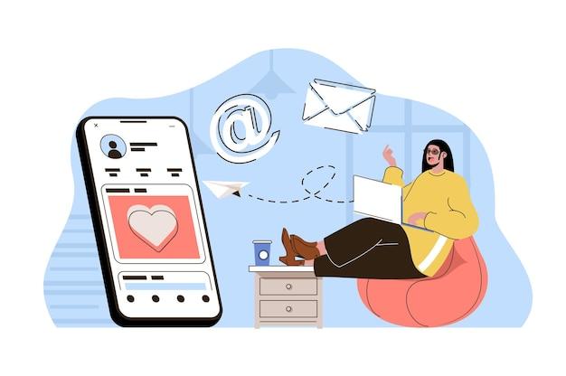 Conceito de marketing de mídia social mulher fazendo mala direta promocional