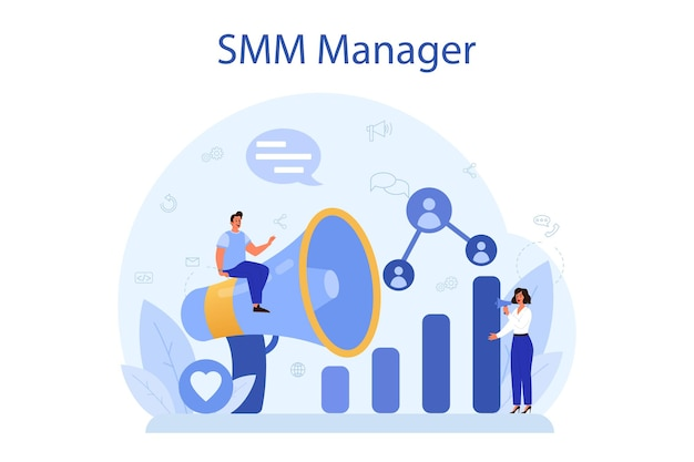 Conceito de marketing de mídia social smm. publicidade de negócios na internet por meio de rede social. curta e compartilhe conteúdo.