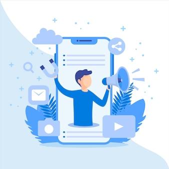 Conceito de marketing de mídia social