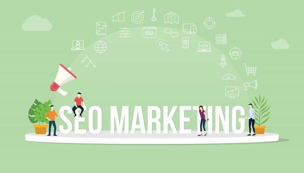Conceito de marketing de otimização de mecanismo de busca seo