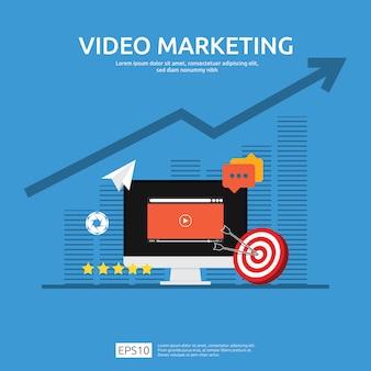 Conceito de marketing de vídeo com gráfico e monitor de tela do pc