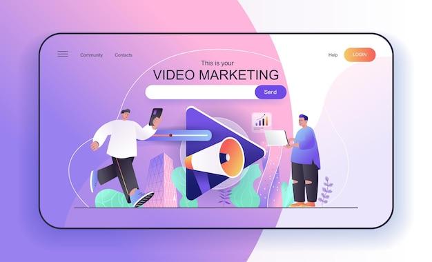 Conceito de marketing de vídeo para estratégia de promoção online de criação de conteúdo de vídeo da página de destino