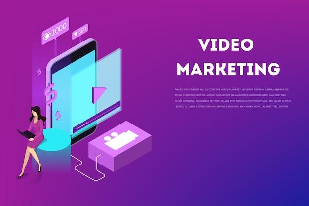 Conceito de marketing de vídeo. publicidade na internet através de vídeo