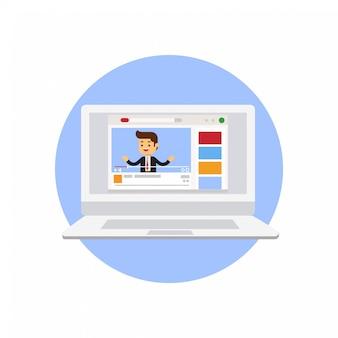 Conceito de marketing de vídeo.vlog de negócios