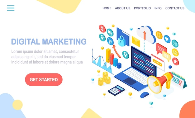 Conceito de marketing digital. 3d isométrico computador, laptop, pc com gráfico monetário, gráfico, pasta, megafone, alto-falante