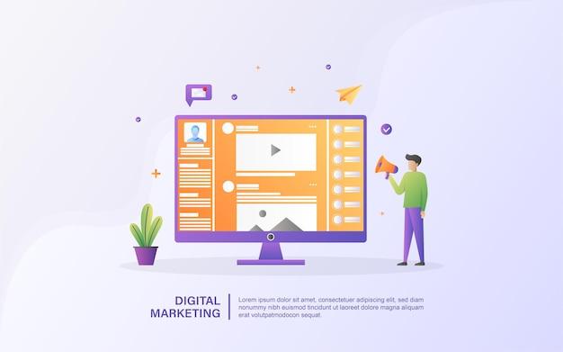 Conceito de marketing digital. as pessoas anunciam produtos nas redes sociais, compartilham conteúdo de vídeo promocional.