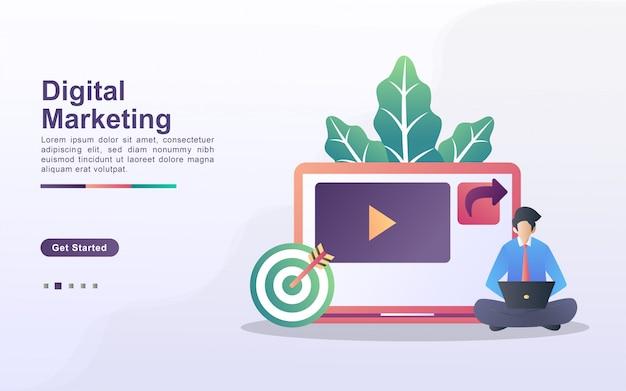 Conceito de marketing digital. as pessoas salvam e compartilham conteúdo de marketing nos emails dos clientes. analise e identifique resultados de marketing.