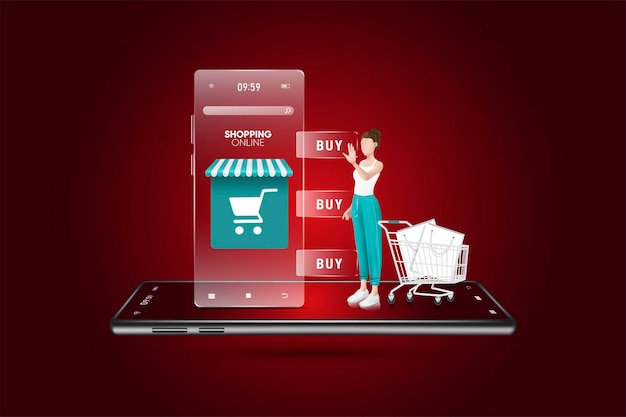 Conceito de marketing digital, compras on-line no aplicativo móvel premium vector