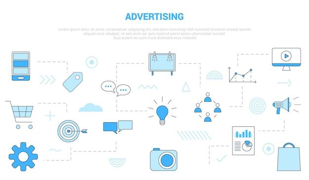 Conceito de marketing digital de publicidade com banner de modelo de conjunto de ícones com ilustração em vetor moderno estilo de cor azul