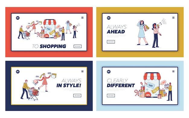 Conceito de marketing digital e compras online. página inicial do site.