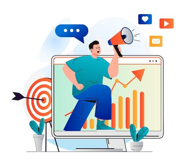 Conceito de marketing digital em design plano moderno homem com megafone anunciando