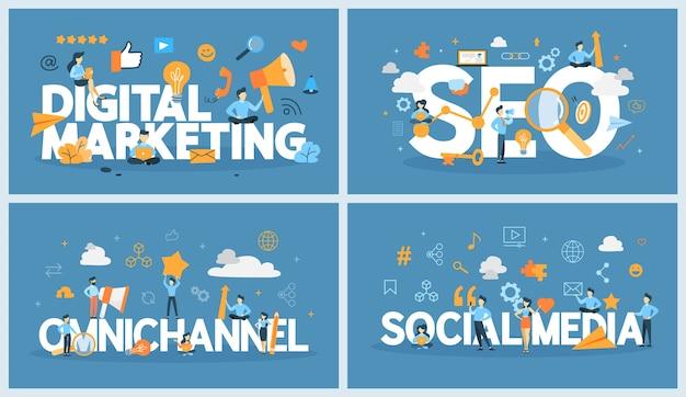 Conceito de marketing digital. rede social e comunicação de mídia online. seo, sem e promoção de negócios. conceito omnichannel. ilustração vetorial plana