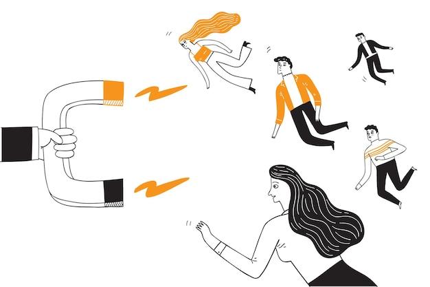 Conceito de marketing empresarial, a multidão voou em direção a um imã enorme semelhante à gravidade. ilustração em vetor desenhada à mão