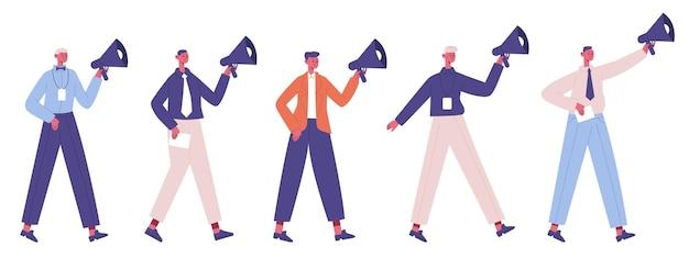 Conceito de marketing empresarial. promoção, palestrantes de estratégia de marketing com megafones isolados
