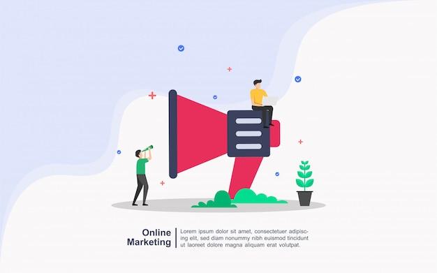 Conceito de marketing on-line com caráter de pessoas