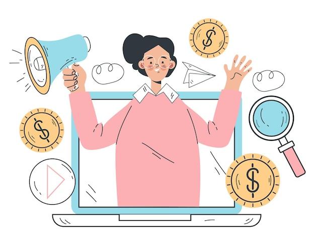 Conceito de marketing on-line para promotor de alto-falantes na internet