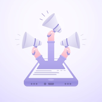 Conceito de marketing online com as mãos com ilustração de megafones