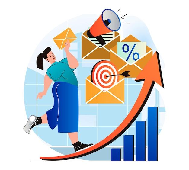 Conceito de marketing por e-mail em design plano moderno mulher enviando boletins informativos para atrair novos clientes