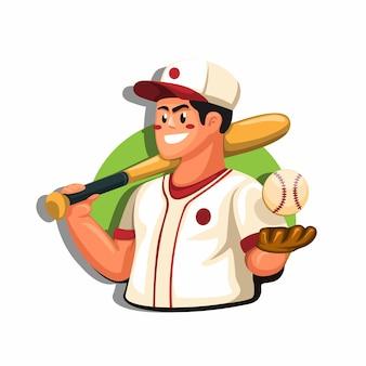 Conceito de mascote de restaurante de comida japonesa tradicional chef sushi na ilustração dos desenhos animados