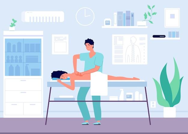 Conceito de massagem. fisioterapeuta do esporte ocupacional ou quiroprático.