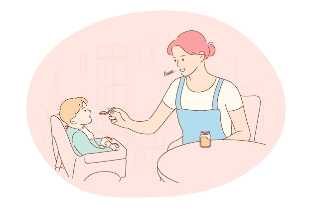 Conceito de maternidade, amor à mãe, paternidade e infância. desenho de mãe jovem positiva