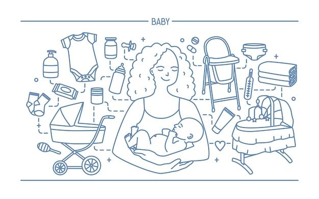 Conceito de maternidade. banner horizontal com mãe e bebê