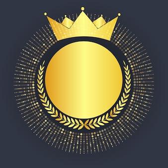 Conceito de medalha de avatar do vencedor do 1º lugar com coroa dourada e louro