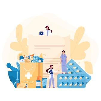 Conceito de medicação. recolha de medicamentos de farmácia em frasco e caixa. comprimido de medicamento para tratamento de doenças e formulário de prescrição. conceito de farmácia e farmacêutico.