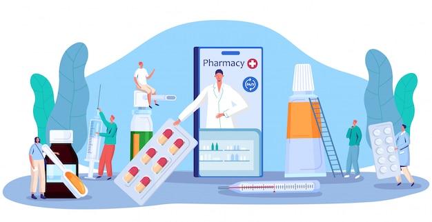 Conceito de medicamento de farmácia, consulta de farmácia on-line e prescrição de comprimidos, ilustração de pessoas