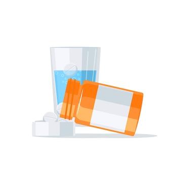 Conceito de medicamentos. drogas escorrendo do frasco de comprimidos para a tampa e um copo de água em um fundo.